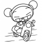Pucca on a motorcycle