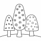 Three trees coloring page nature coloring page